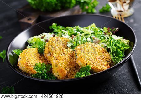 Homemade Fish Croquettes From White Fish In Cornflakes Breading. Fritters From Minced Cod. Delicious