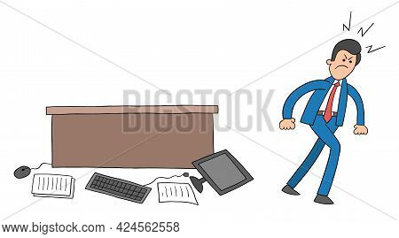 Cartoon Businessman Very Angry, Threw The Computer And Papers On The Table To The Floor, Vector Illu