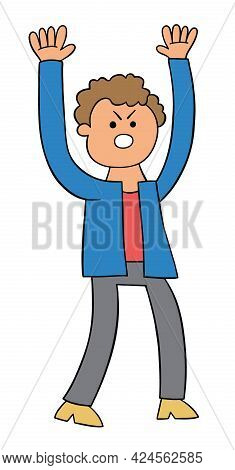 Cartoon Man Angry And Shouting, Vector Illustration. Colored And Black Outlines.