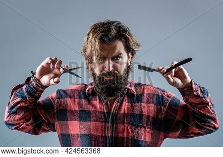 Barber Scissors And Straight Razor, Barber Shop, Suit. Vintage Barber Shop, Shaving. Portrait Bearde