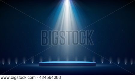 Spotlight Backdrop. Illuminated Blue Stage Podium. Background For Displaying Products. Bright Beams