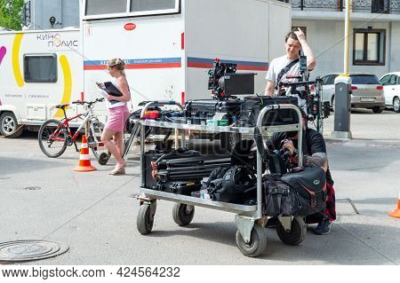 Saint Petersburg, Russia - 17 May 2021. Trolley With Video Equipment. Backstage From The Filming Of