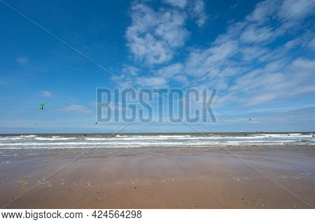 Yellow Sandy Beach In Small Belgian Town Knokke-heist, Luxury Vacation Destination, Summer Holidays
