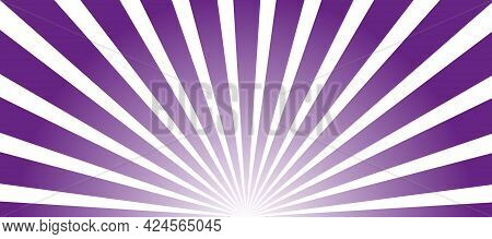 Abstract Purple And White Sunrise Background With Sun Ray. Summer Vector Illustration For Design