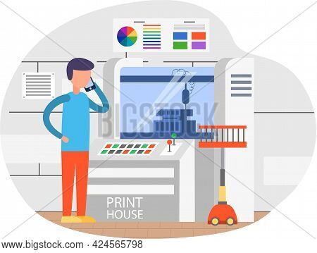 Young Man Working In Typography At Print To Printer. Employee Works With Equipment Computer Paint Se