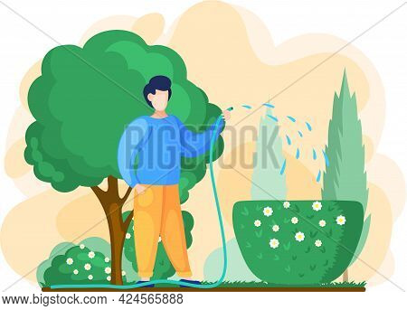 Man Gardening Plant, Planting Flowers, Watering Flower Bed From Hose, Agriculture Gardener Hobby And
