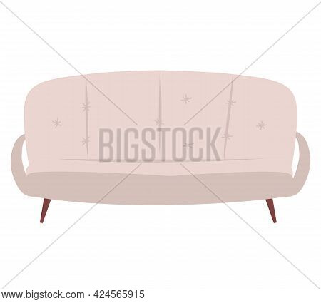 Sofa And Couch Brown Colorful Cartoon Illustration Vector. Sofa Leisure Furniture. Comfortable Loung