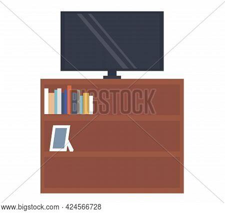 Tv On Wooden Stand. Cheast Of Drawers For Tv Vector Illustration. Living Room Interior Design Elemen