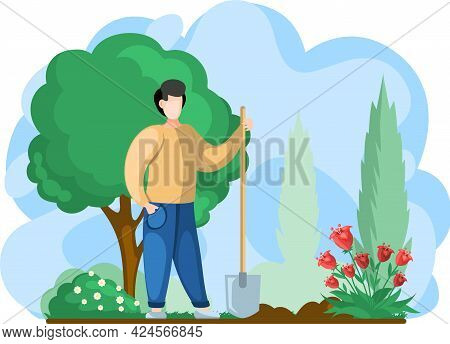 Gardener Holds Shovel, Transplants And Cares After Trees, Flowers And Bushes In Garden. Man Digs, Wo