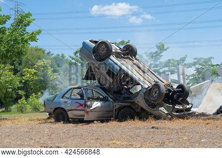 Broken Cars Crash With Smoke, Collapse In Accident On Side Of Street Road. Transportation Vehicles.
