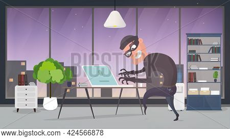 Thief In The House. A Robber Steals Data From A Laptop. Safety Concept. Thief Man Stealing An Apartm