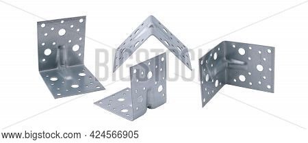 Metal Construction Corners With Holes Isolated On A Clean White Background Without Shadows From Diff