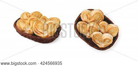 Heart-shaped Sweet Dough Buns With Sugar Lie In A Wicker Basket And Are Isolated On A Clean White Ba
