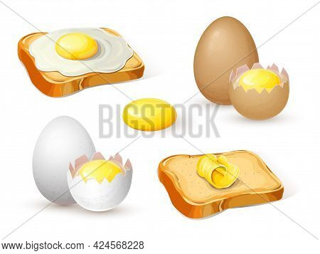 Fried Eggs On Bread, Toast With Butter, Whole Hard Boiled Egg And Half With Soft Boiled Yolk For Bre