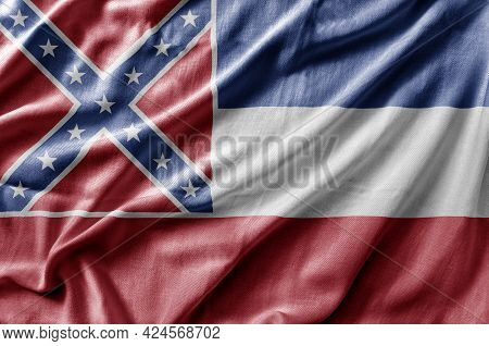 Waving Detailed National Us Country State Flag Of Mississippi
