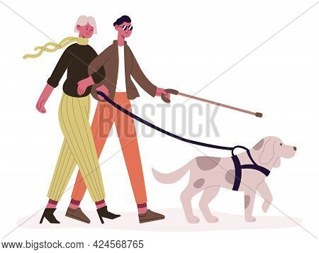 Blind Couple With Guide Dog. Disabled Man And Woman Walking With Guide Dog, Blind Couple And Service