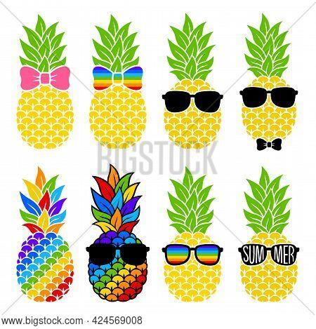 Pineapple With Hair Bow, Sunglasses. Vector Fruit Set. Rainbow Tropical Illustration. Flat Style. Fo