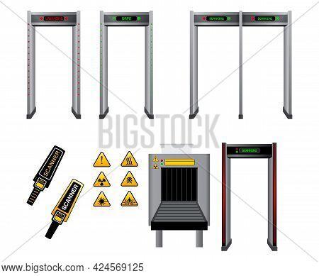 Set Of Realistic Handheld Detect Metal Scanner Isolated Or Metal Detector Gate Security Or Baggage C