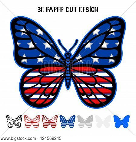4th Of July 3d Butterfly With Usa Flag. Independence Day. Vector Patriotic Symbol. Layered Insect. P
