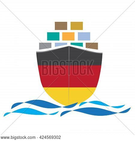 Concept Design Cargo Ship With Germany Flag. Commercial Vessel Containers Freight Import And Export