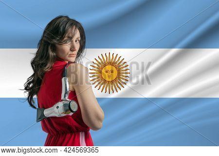 Beauty Industry In Argentina. Happy Female Hairdresser Holding Hairdryer Against Argentina Flag Back
