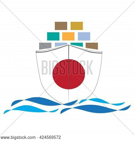 Concept Design Cargo Ship With Japan Flag. Commercial Vessel Containers Freight Import And Export Ma