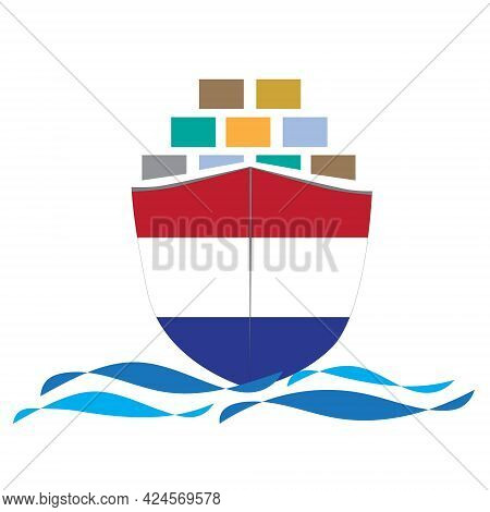 Concept Design Cargo Ship With Netherlands Flag. Commercial Vessel Containers Freight Import And Exp