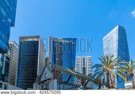 View Of Modern Office Buildings In Downtown Tel-aviv, Israel