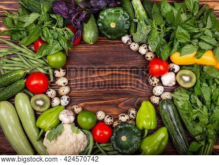 Empty Vintage Frame. Ripe Vegetables. Frame Of Assorted Fresh Vegetables. Still Life. High Angle Of