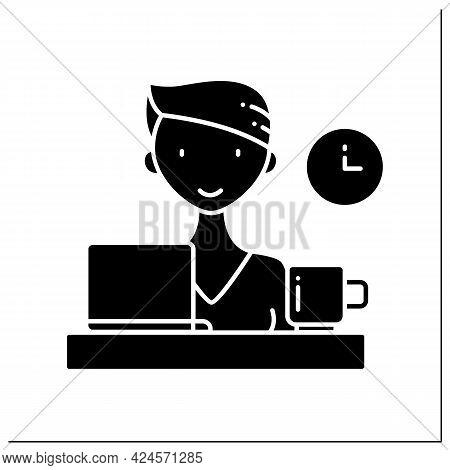 Female Freelancer Glyph Icon. Remote Work. Worker Person Looking At Laptop. Designer Freelancer. Har