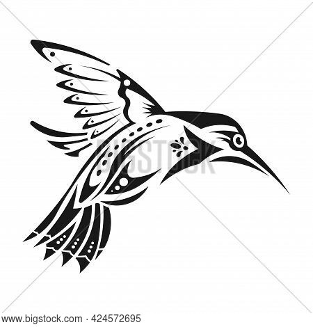 Symbolic Monochrome Image Of A Hummingbird Bird. Sample Tattoo Design