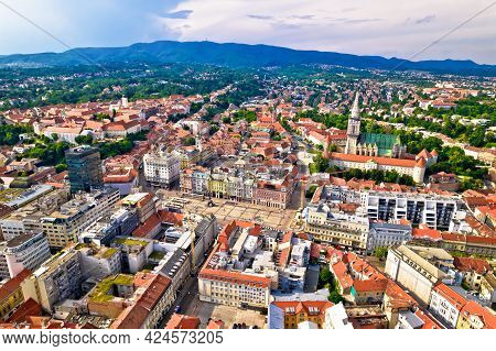 Zagreb Historic City Center And Cathedral Aerial View, Famous Landmarks Of Capital Of Croatia
