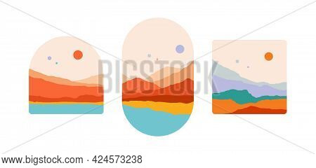 Mountain. Abstract Landscape Mountain, Sky, Sunset View. Set Of Minimalist Style Landscape View, Mou