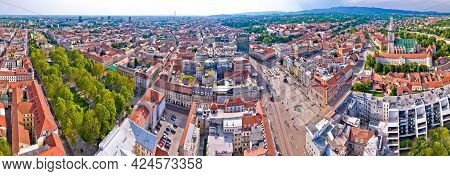 Zagreb Historic City Center, Central Square And Cathedral Aerial View, Famous Landmarks Of Capital O