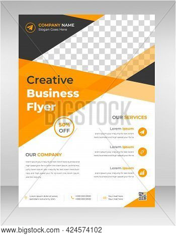 Orporate Business Flyer Poster Pamphlet Brochure Cover Template Design With Yellow Color. Marketing,