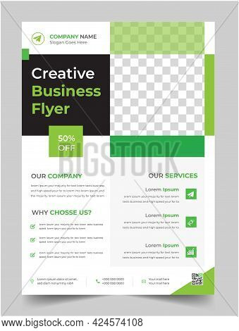 Corporate Business Flyer Template Design With Green Color. Marketing, Business Proposal, Promotion,