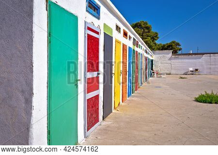 Jadrija Beach Colorful Cabins View, Tourist Destination In Sibenik Archipelago Of Croatia