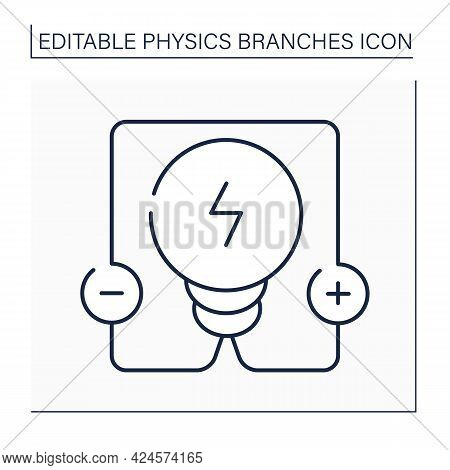 Electricity Line Icon. Electrical Phenomena. Interaction Between Charged Bodies, Polarization And Pa