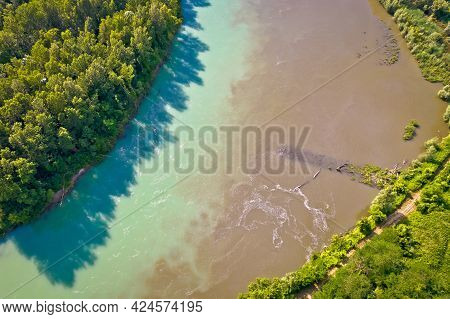 Aerial View Of Drava River On Mouth With Mura, Podravina Region Of Croatia, Border With Hungary