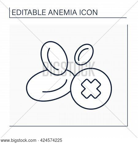 Anemia Line Icon. Disease Symptoms. Low Hemoglobin. Lack Of Red Blood Cell Production. Health Protec