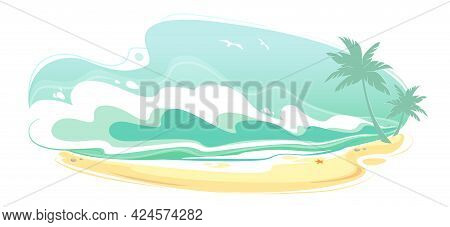 Sea Beach Landscape, Seascape Summer Banner. Seacoast With Water Waves Panorama, Surf Ocean Holiday