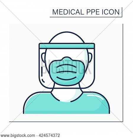 Full Protection Color Icon. Head, Mask And Shield. Personal Protective Equipment. Barrier Between Pe