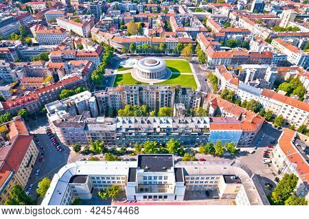 Zagreb Aerial. The Mestrovic Pavilion On The Square Of The Victims Of Fascism In Central Zagreb Aeri