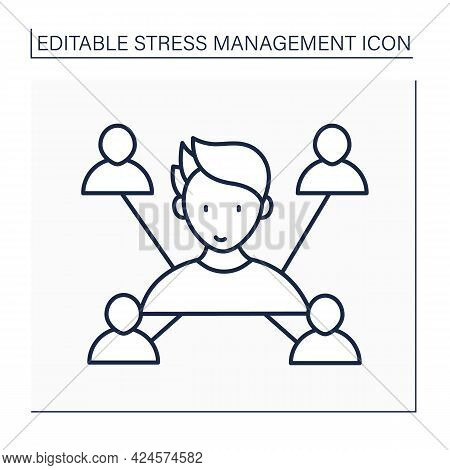 Connection Line Icon. Connect With People. Communication. Build Relationships. Avoid Stressful Situa