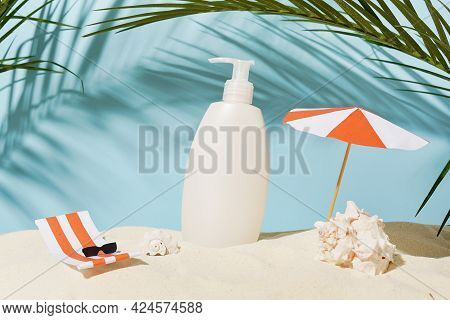 Cosmetic Body Care Product For Skin Or Hair, Shampoo Or Gel, Summer Beach With Paper Accessories On