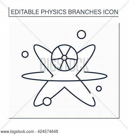 Nuclear Physics Line Icon. Investigation Of Structure And Properties Of Atomic Nuclei. Nuclear React