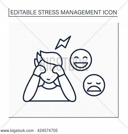 Feelings Express Line Icon. Showing True Emotions. Dont Hide Feelings. Mental Health Concept. Isolat