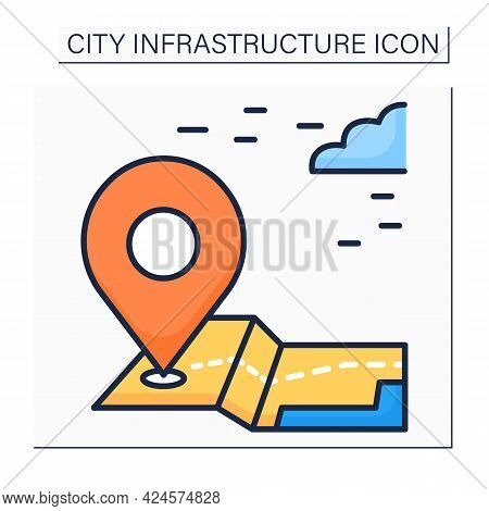 Landmark Color Icon. Recognizable Natural Or Artificial Features. Used For Maps And Navigation. Outl
