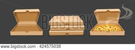 Pizza boxes. Closed and open bardboard box vector. Opened pizza fast food takeaway packaging with smoke. Simple flat style. 3D illustration.
