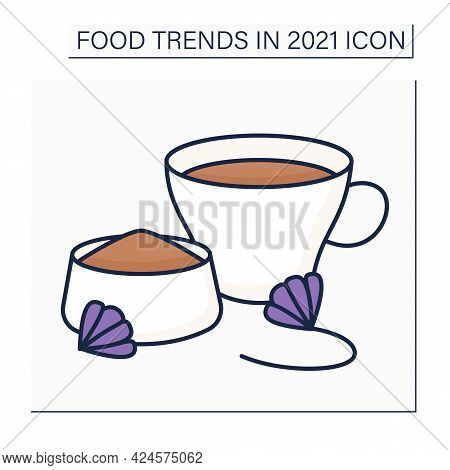 Chicory Drink Color Icon. Herbal Coffee. Caffeine-free Herb. Organic Drink. Health Care. Food Trends